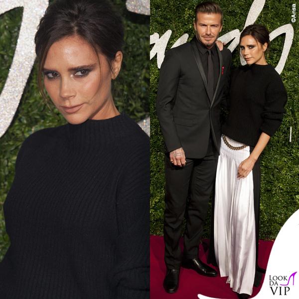 British Fashion Awards David Beckham abito Dior Victoria Beckham maglione gonna Victoria Beckham scarpe Manolo Blanik 4