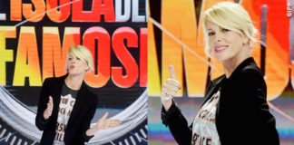 Alessia Marcuzzi conferenza stampa L'Isola dei Famosi 2015 tshirt cappotto Versace pantaloni JBrand scarpe Casadei
