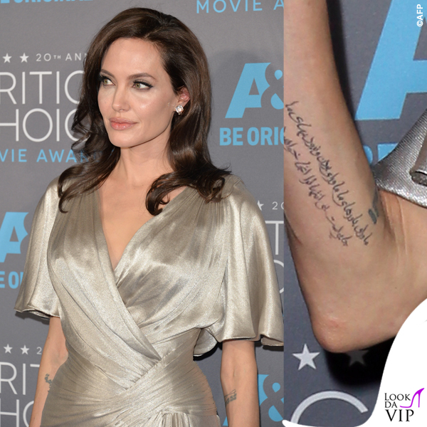 Angelina Jolie Critics' Choice Awards abito Atelier Versace tatuaggio