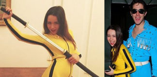 Aurora Ramazzotti costume Kill Bill scarpe Onitsuka Tiger