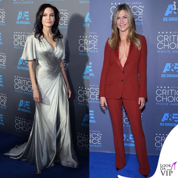 Critics' Choice Awards Angelina Jolie abito Atelier Versace Jennifer Aniston tailleur Gucci