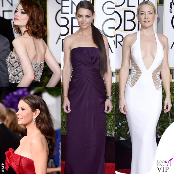 Golden Globe 2015 Emma Stone Catherine Zeta-Jones  Katie Holmes Kate Hudson