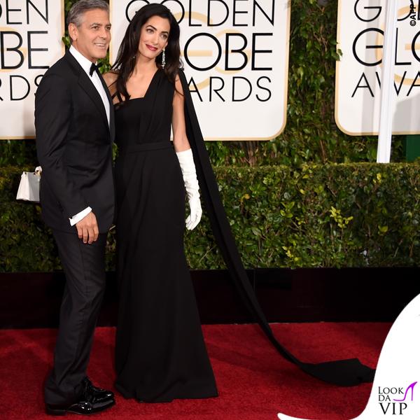 Golden Globe 2015 George Clooney tuxedo Armani Amal Alamuddin abito clutch guanti Christian Dior 3
