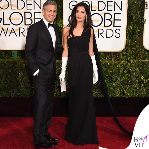 Golden Globe 2015 George Clooney tuxedo Armani Amal Alamuddin abito clutch guanti Christian Dior 4