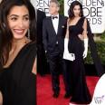 Golden Globe 2015 George Clooney tuxedo Armani Amal Alamuddin abito clutch guanti Christian Dior 5