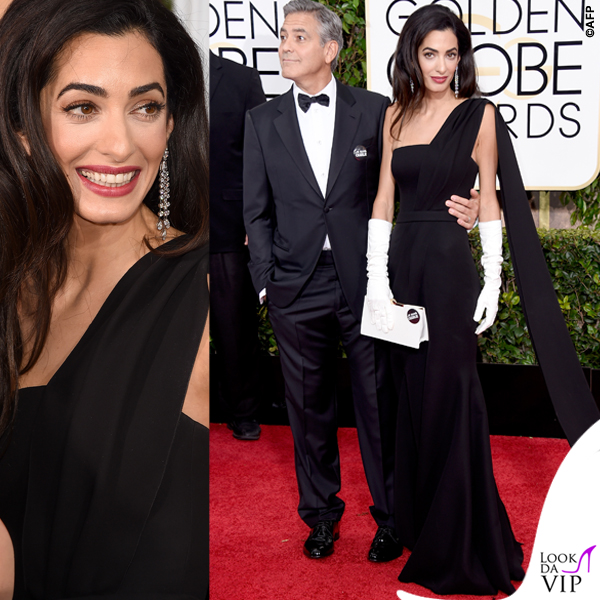 Golden Globe 2015 George Clooney tuxedo Armani Amal Alamuddin abito clutch guanti Christian Dior 3 5