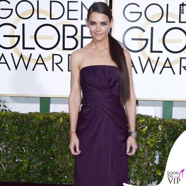 Golden Globe 2015 Katie Holmes abito Marchesa
