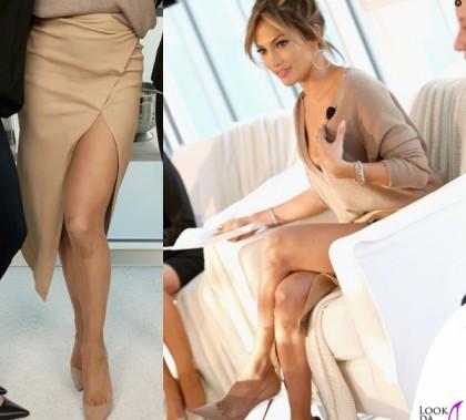 Jennifer Lopez maglia Brunello Cucinelli gonna Enza Costa scarpe Louboutin orecchini Lana Jewelry 5