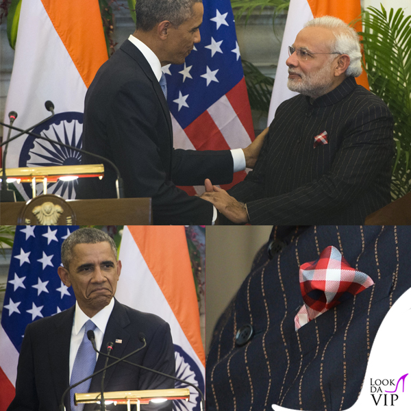 Narendra Modi barack obama giacca oro