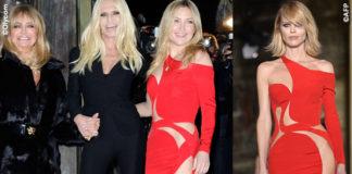 PFW sfilata Versace Goldie Hawn Donatella Versace Kate Hudson Eva Herzigova