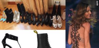 Anna Tatangelo Sanremo sandali stivaletti Le Silla anfibi Dr. Martens