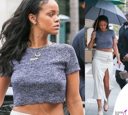 Rihanna gonna JWAnderson scarpe Stella McCartney borsa Louis Vuitton Celebrating Monogram