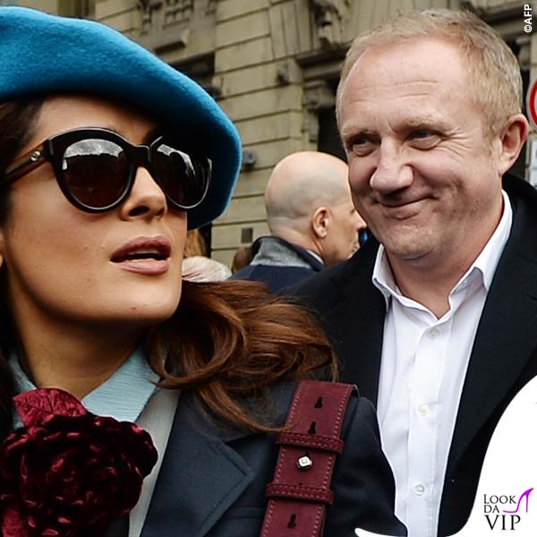 Salma Hayek Francois-Henri Pinault MFW sfilata Gucci