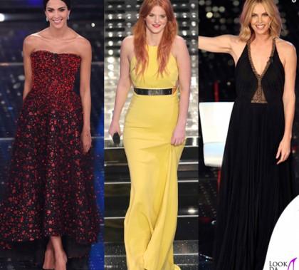 Sanremo 2015 1 serata Rocio Munoz Morales abito Giorgio Armani Privé Chiara Galiazzo abito Stella McCartney Charlize Theron