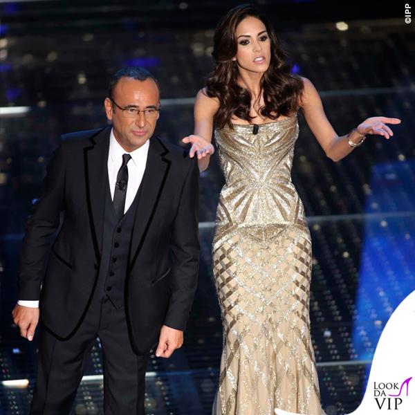 Sanremo 2015 2 serata Carlo Conti abito Salvatore Ferragamo Rocio Munoz Morales abito Roberto Cavalli