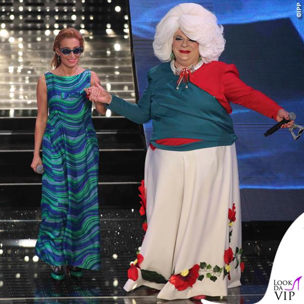 Sanremo 2015 3 serata Mauro Coruzzi Platinette Grazia Di Michele abito Roberto Prili di Rado