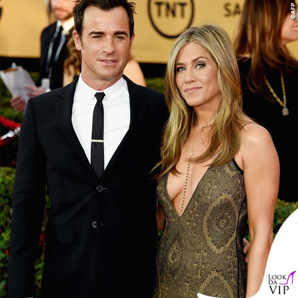 Screen Actors Guild Awards Justin Theroux Jennifer Aniston abito John Galliano collana Amrit 2
