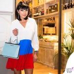 Ana Laura Ribas compleanno abito Mauro Grifoni borsa Mia Bag scarpe Giuseppe Zanotti