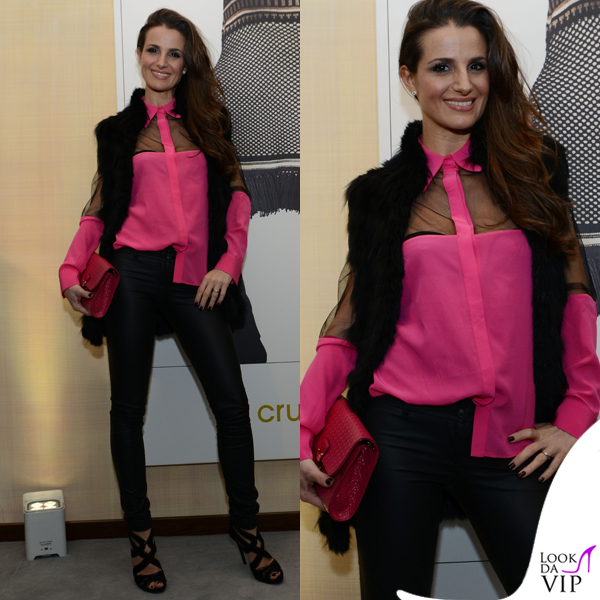 Cristina De Pin MFW evento Cruciani camicia Uel Camilo sandali Dolce&Gabbana borsa Tod's 2