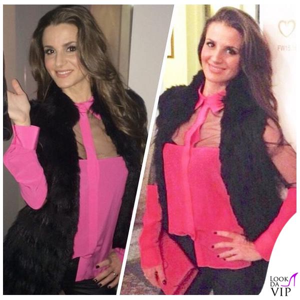 Cristina De Pin MFW evento Cruciani camicia Uel Camilo sandali Dolce&Gabbana borsa Tod's