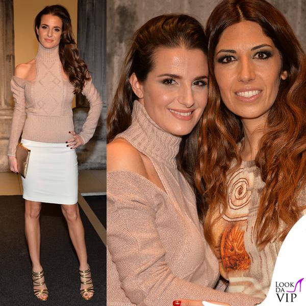 Cristina De Pin MFW sfilata Biagiotti maglione Biagiotti gonna Richmond borsa Dolce&Gabbana sandali Casadei