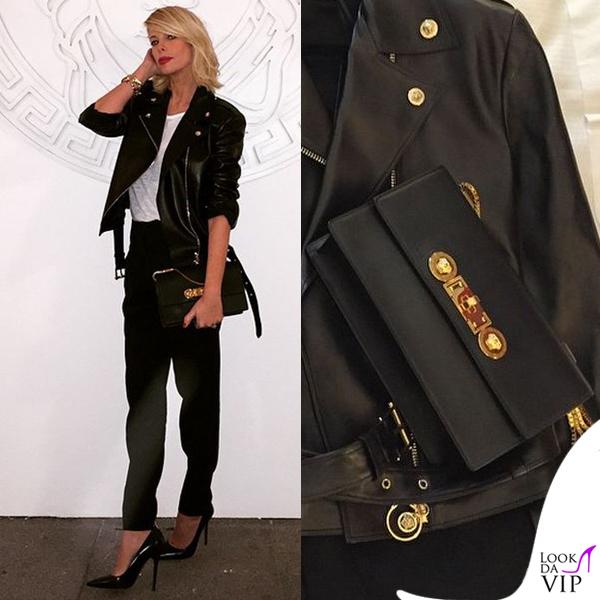 MFW Alessia Marcuzzi sfilata Versace total Versace