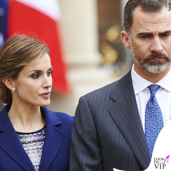 Regina di Spagna Letizia Ortiz visita Francia abito clutch Felipe Varela scarpe Magrit 4