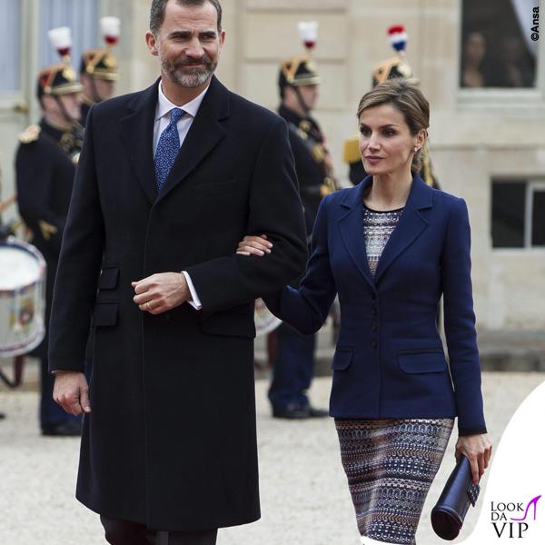 Regina di Spagna Letizia Ortiz visita Francia abito clutch Felipe Varela scarpe Magrit 8