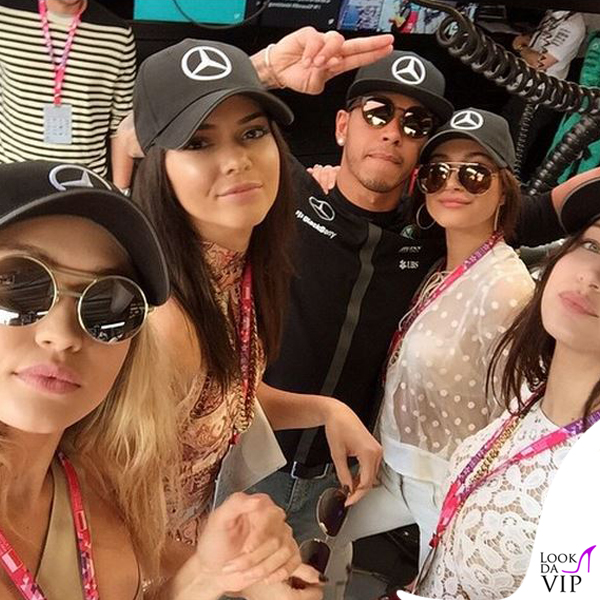 Kendall Jenner Gigi Hadid Lewis Hamilton Bella Hadid Hailey Baldwin Gran Premio di Montecarlo 2