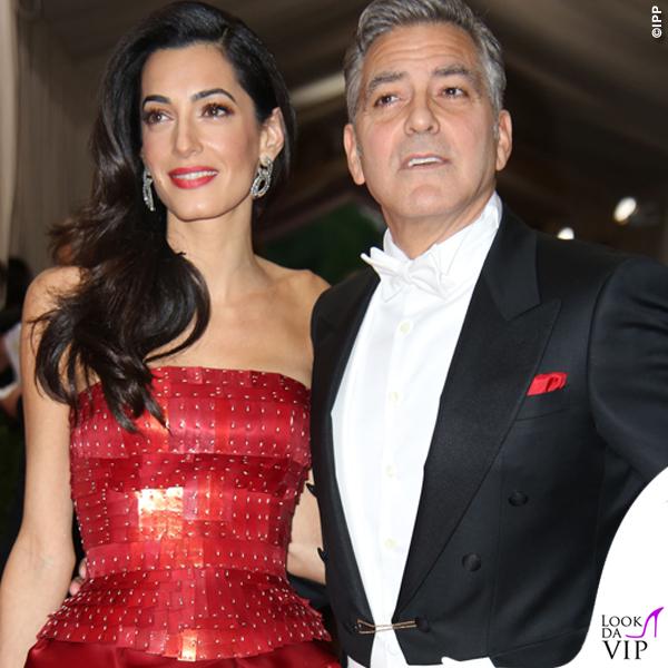 Met Gala 2015 Amal Alamuddin abito Martin Margiela by John Galliano George Clooney total Armani 4