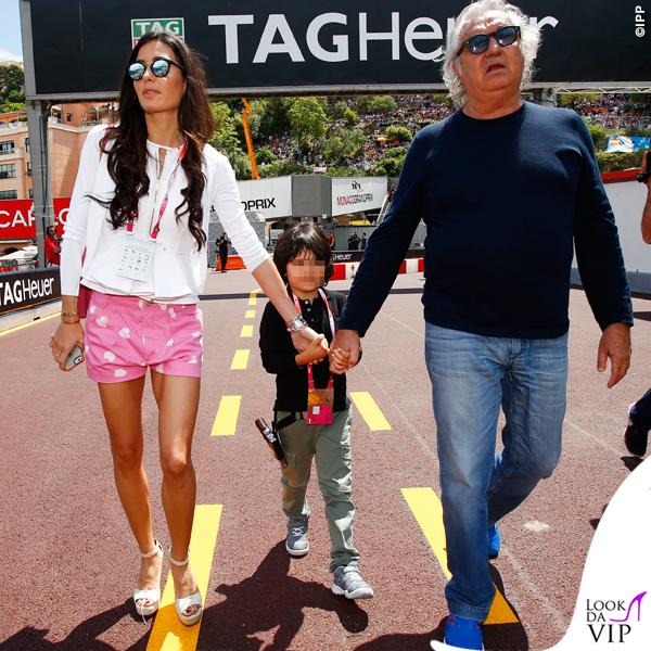 Montecarlo Gran Premio di Formula1 Elisabetta Gregoraci shorts Moschino borsa Celine Nathan Falco Flavio Briatore