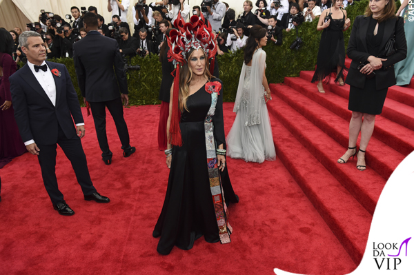 Sarah Jessica Parker Met Gala 2015 abito H&M copricapo Philip Treacy 5
