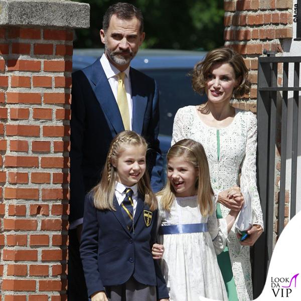 prima comunione Leonor di Spagna Sofia abito Nanos Letizia abito Felipe Varela scarpe borsa Magrit 2