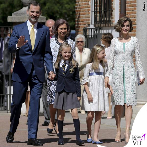 prima comunione Leonor di Spagna Sofia abito Nanos Letizia abito Felipe Varela scarpe borsa Magrit 5