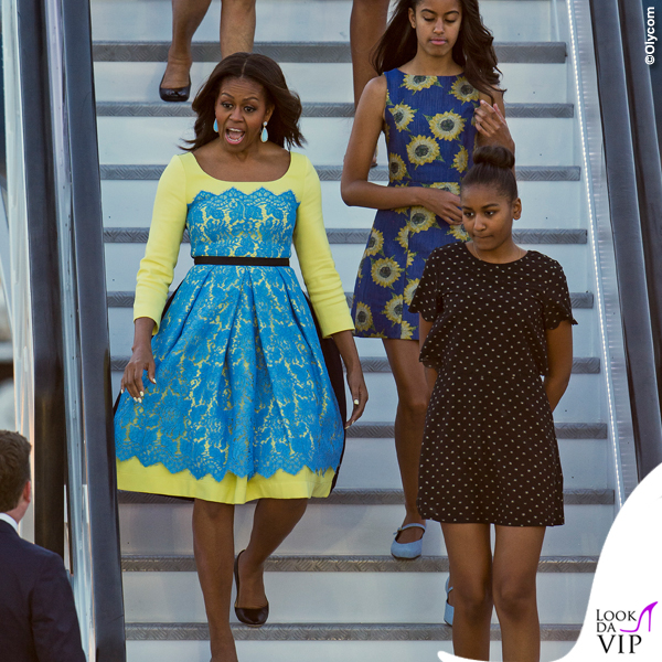 Londra Michelle Obama abito Preen by Thornton Bregazzi Malia Obama abito Alice and Olivia by Stacey Bendet Sasha Obama 2