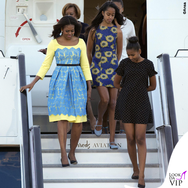 Londra Michelle Obama abito Preen by Thornton Bregazzi Malia Obama abito Alice and Olivia by Stacey Bendet Sasha Obama 3
