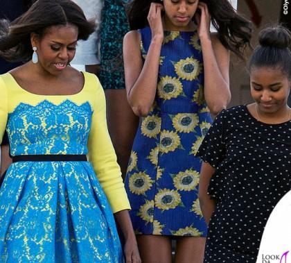 Londra Michelle Obama abito Preen by Thornton Bregazzi Malia Obama abito Alice and Olivia by Stacey Bendet Sasha Obama 4