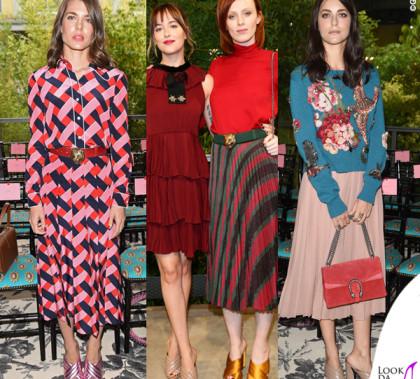 MFW sfilata Gucci Charlotte Casiraghi Dakota Johnson Karen Elson Miriam Leone scarpe Sylvia Gucci