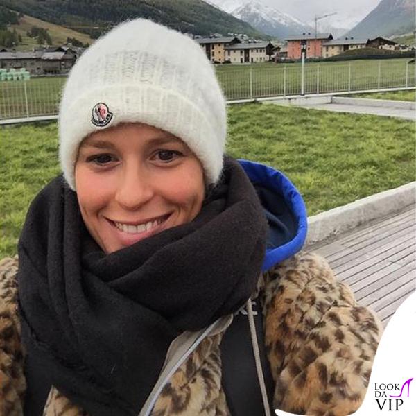 Federica Pellegrini giacca K-Way cappello Moncler