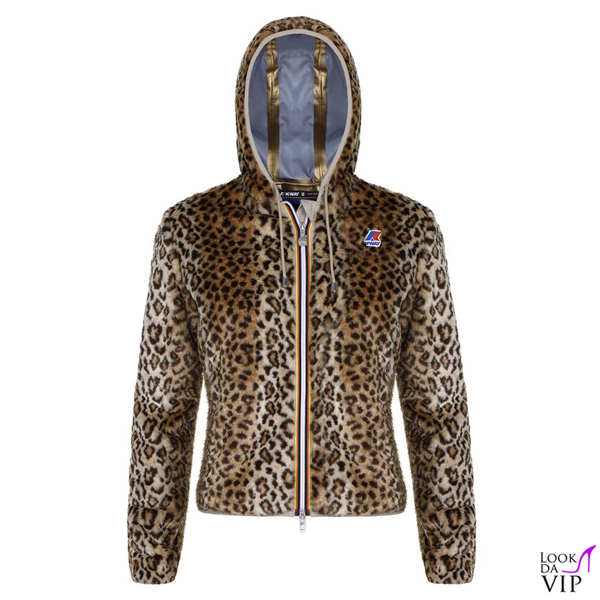Giacca K-Way Lily Peluche Leopard