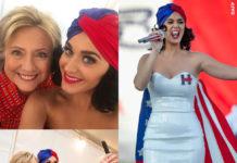 Katy Perry Hillary Clinton abito Michael Costello turbante Eugenia Kim spilla Erickson Beamon