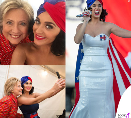Katy Perry Hillary Clinton abito Michael Costello turbante Eugenia Kim spilla Erickson Beamon