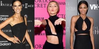 Alessandra Ambrosio Gigi Hadid Ciara Mariana Rodriguez Taraji P Henson abiti neri cut-out