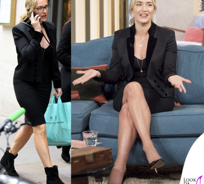 Kate Winslet This Morning giacca The Kooples stivaletti Isabel Marant borsa Christian Dior