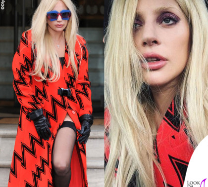 Lady Gaga cappotto Christopher Kane occhiali House of Holland