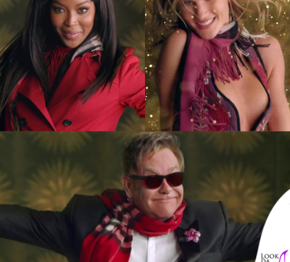 Film Burberry Festive Naomi Campbell Rosie Huntington Whiteley Elton John