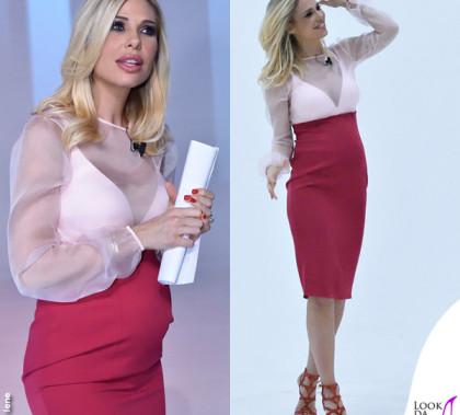 Ilary Blasi Le Iene camicia gonna Francesco Paolo Salerno sandali Passion Blanche