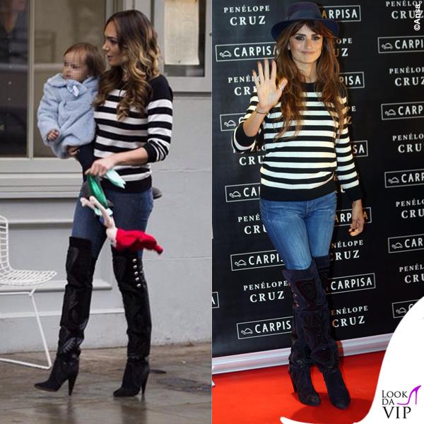 Tamara Ecclestone Penelope Cruz maglione Saint Laurent stivali Isabel Marant