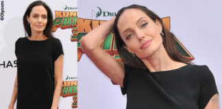 Angelina Jolie abito e pump Saint Laurent orecchini EF Collection bracciale Nigaam
