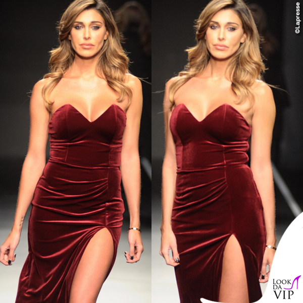 best loved 39de5 05e1e Belen Rodriguez Pitti 2016 Guess abito bordeaux - Look da Vip